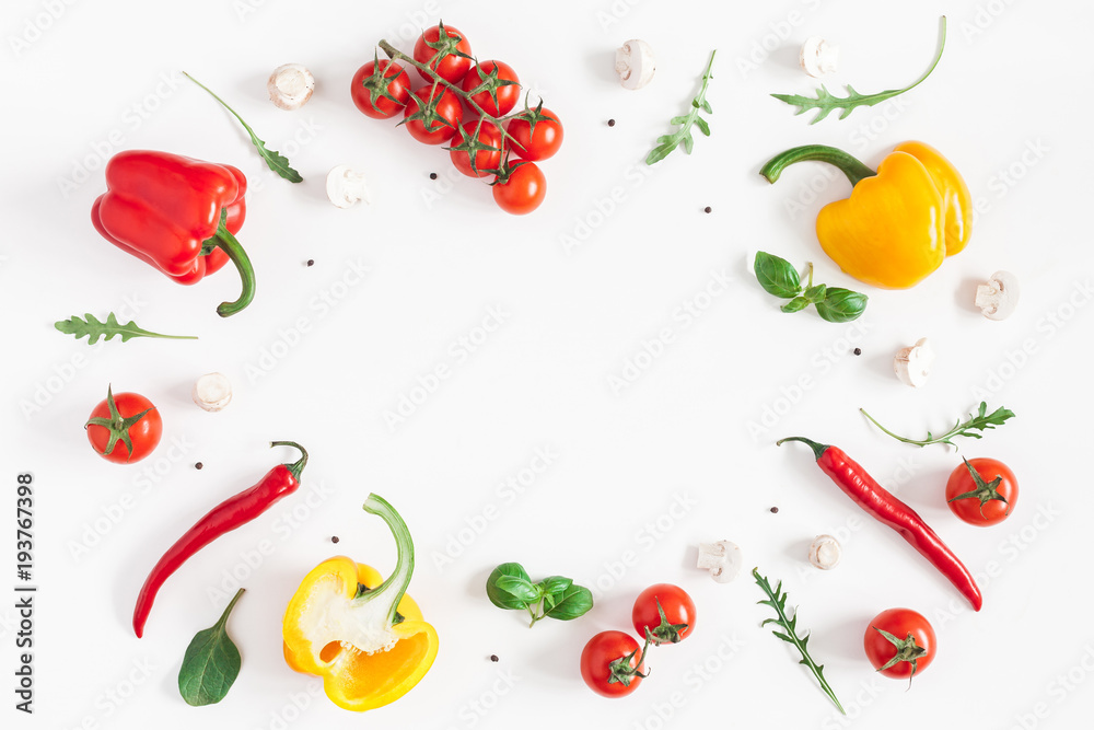 Fototapety, obrazy: Healthy food on white background. Vegetables, tomatoes, peppers, green leaves, mushrooms. Flat lay, top view, copy space
