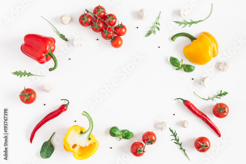 Spoed Fotobehang Eten Healthy food on white background. Vegetables, tomatoes, peppers, green leaves, mushrooms. Flat lay, top view, copy space