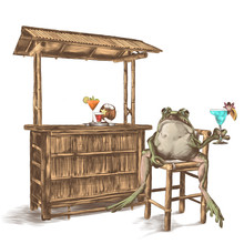 The Toad Sits With A Raised Pa...