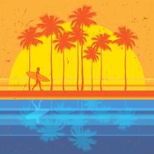 California Beach, Surfer Poster