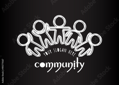 Social Network Media People Logo Creative Teamwork White Many Outlined