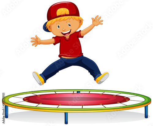 Photo sur Aluminium Jeunes enfants Happy boy jumping on trampoline