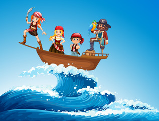 Fototapeta samoprzylepna Pirates on ship in the sea