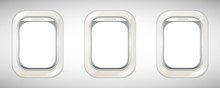 Three Airplane Windows With Sc...
