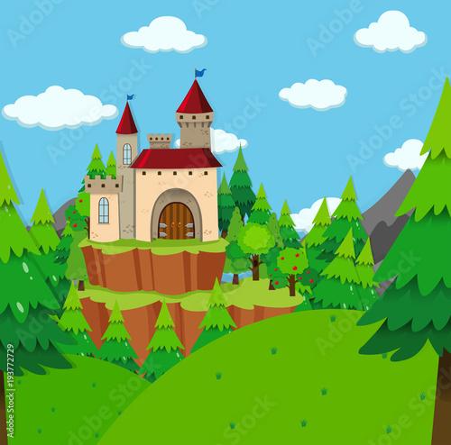 Staande foto Kasteel Castle tower in the forest