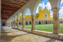 Monastery Of The  The Yellow City Of Izamal In Yucatan, Mexico