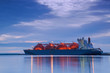 canvas print picture - LNG TANKER AT THE GAS TERMINAL - Sunrise over the ship and port