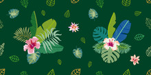 Palm Leaves And Exotic Flowers On Dark Green Background.