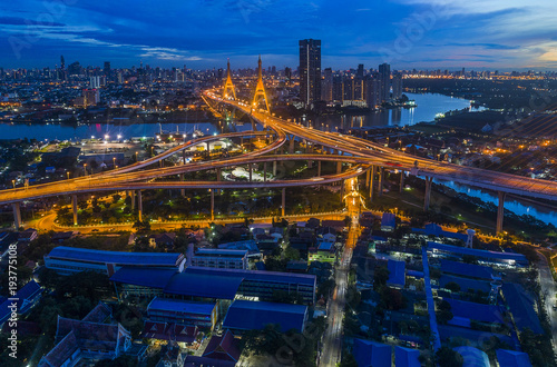 Keuken foto achterwand Canada Bhumibol bridge aerial view at sunrise is a part of 13km long industrial ring road connecting Southern Thailand and Samut Prakan Province