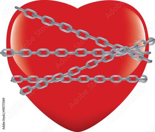 cuore rosso immobilizzato e incatenato Slika na platnu