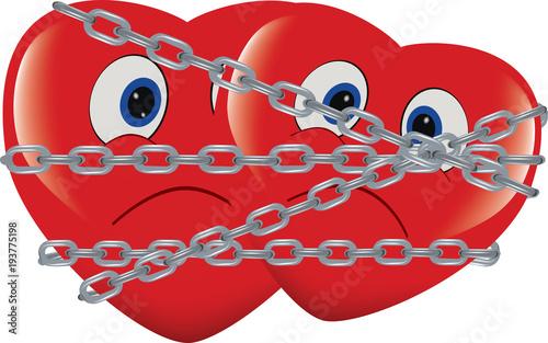 Fotografija cuore rosso immobilizzato e incatenato