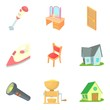 Residential district icons set, cartoon style