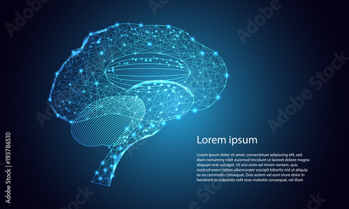 Abstract Technology Futuristic Concept Brain Interface Hologram Elements Of Digital Data Health Innovation On Hi Tech