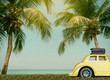 Cars on the road travel holiday summer go to beach sea relax palm trees coconut