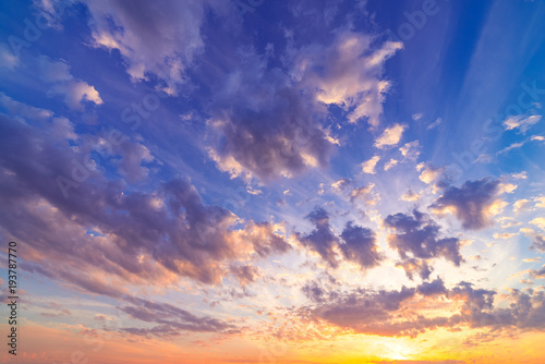 Spoed Foto op Canvas Purper Ultra-wide angle shot of a picturesque sky scenery