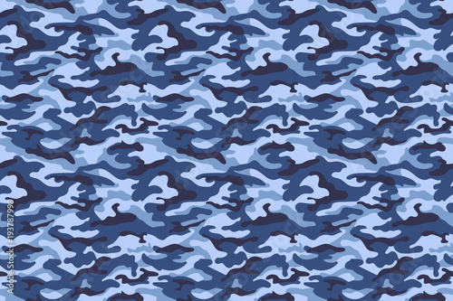 Cuadros en Lienzo Military camouflage texture, blue color. Vector