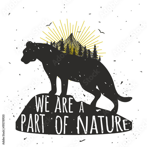 Obraz na plátně  Vector illustration with wild puma silhouette, mountain, sun, pine forest and qu