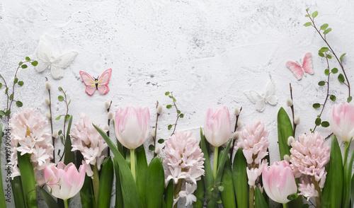 Fototapeta Spring flower and butterfly obraz