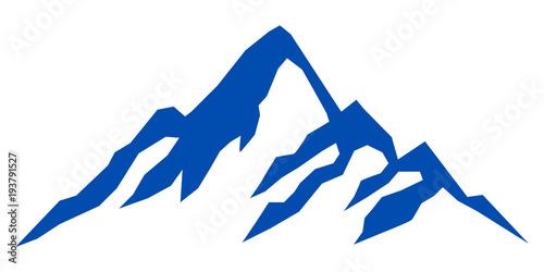 Sylwetki błękitna góra na białym tle - akcyjny wektor
