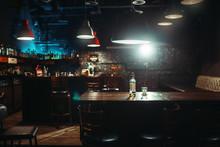 Pub, Bottle Of Alcohol And Gla...