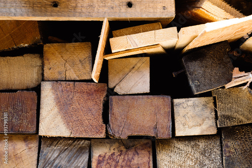 Foto op Canvas Brandhout textuur Stack of wood logs background