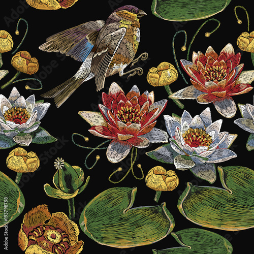 Embroidery vintage pink and white lotuses and water lilies, birds ...