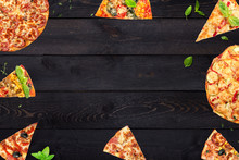 Pizza Slices And Basil Leaves ...