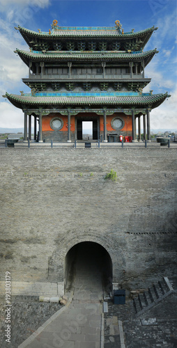 Fotografiet  Wall, fortification of the old city  of  Pingyao ,Shanxi ,China