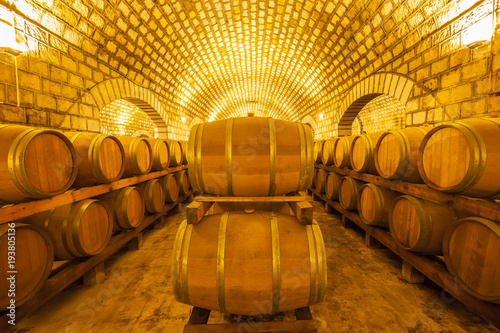 Tablou Canvas Wine Cellar with Wooden Barrels