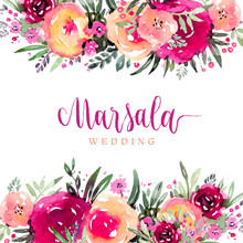Marsala Wedding Watercolor Flo...