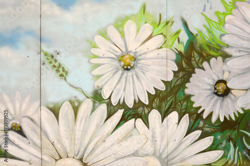 obraz dibond Background texture of wall with graffiti paintings. Blue cloudy sky and white flowers