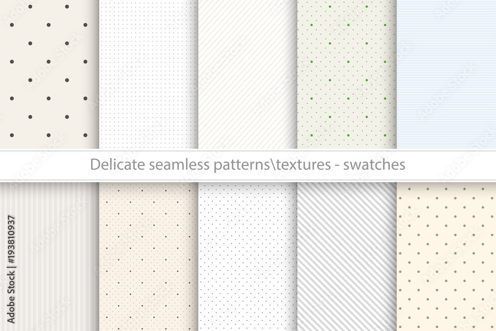 Fototapeta Collection of vector seamless delicate patterns. Dotted, striped tileable color textures