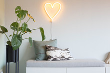 Heart Shape Neon Light Modern Design Interior