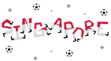 Football World Flag On Funny Alphabet Set :  Vector Illustration