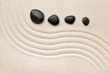 Fototapeta na wymiar Zen sand and stone garden with raked curved lines. Simplicity, concentration or calmness abstract concept