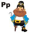 pirate, robber, man, hook, captain, illustration, cartoon, abc, letters, p,