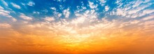 Panorama Background Of Cloudy Blue And Orange Sky