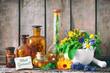 canvas print picture - Kräutertee mit Medizinflaschen und heilenden Kräutern im Mörser. Bleib gesund
