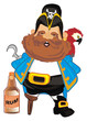 pirate, robber, illustration, cartoon, hook, icon, wooden, rum, drink, bottle, bird, parrot,