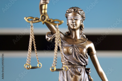 Fototapety, obrazy: Symbol of law and justice with Botswana Flag. Close up.
