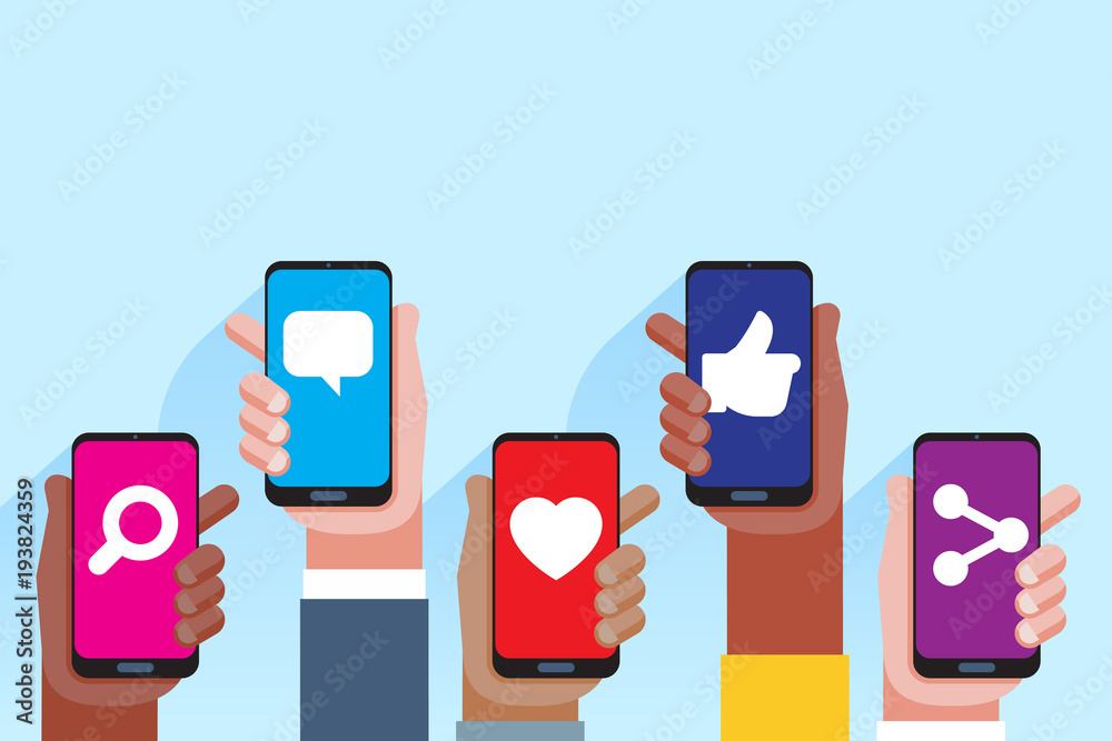 Fototapeta Social media applications. Mobile applications concept. Multi skin color hands raising smartphone.