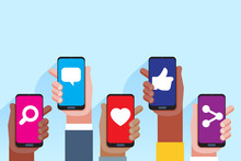 Social Media Applications. Mobile Applications Concept. Multi Skin Color Hands Raising Smartphone.