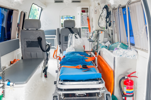 Photo Interior of an ambulance with the necessary equipment for patient care