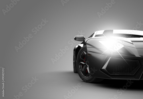 Obraz Black modern sport car - fototapety do salonu