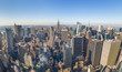 Panoramic view of New York City. Manhattan downtown skyline with Empire State Building and skyscrapers.