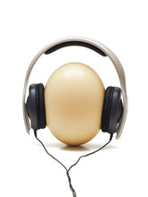Ostrich Egg With Headphones Over It