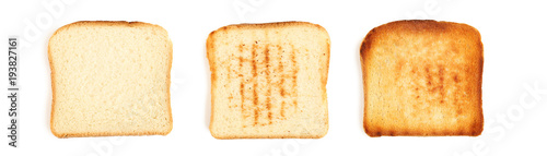 Fotografering Collage of toast breads on white background
