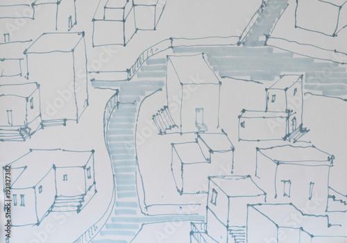 Türaufkleber Darknightsky Architektur Skizze eines mediterranen Ortes mit Gewässer.