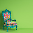 Classic baroque armchair in colorful pop art style on green background with copy space.Minimal concept. Digital Illustration.3d mockup rendering