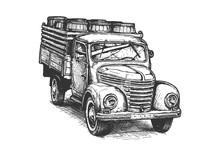 Retro Pickup Truck With Barrels